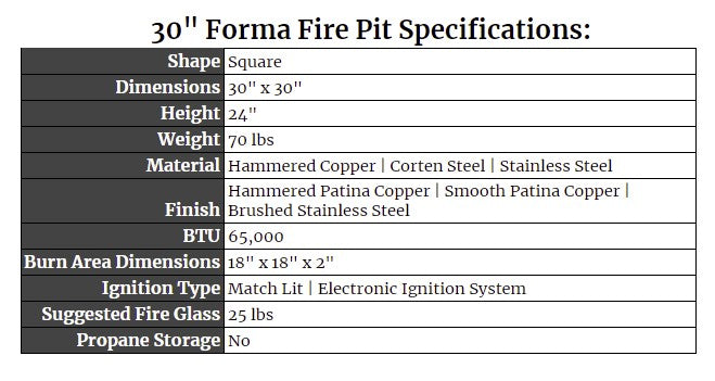 """32"""" Forma Fire Pit Specs"""