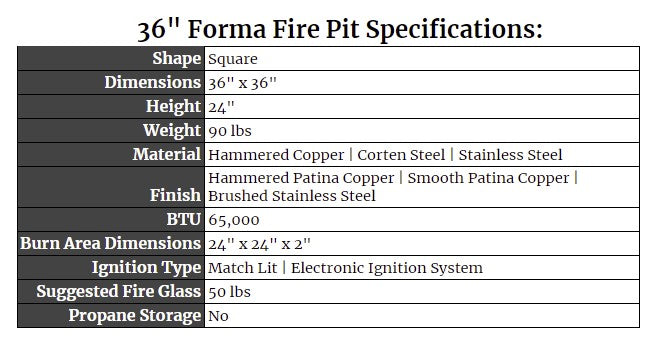 """36"""" Forma Fire Pit Specs"""