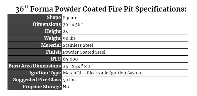 """36"""" Forma Powder Coated Fire Pit Specs"""