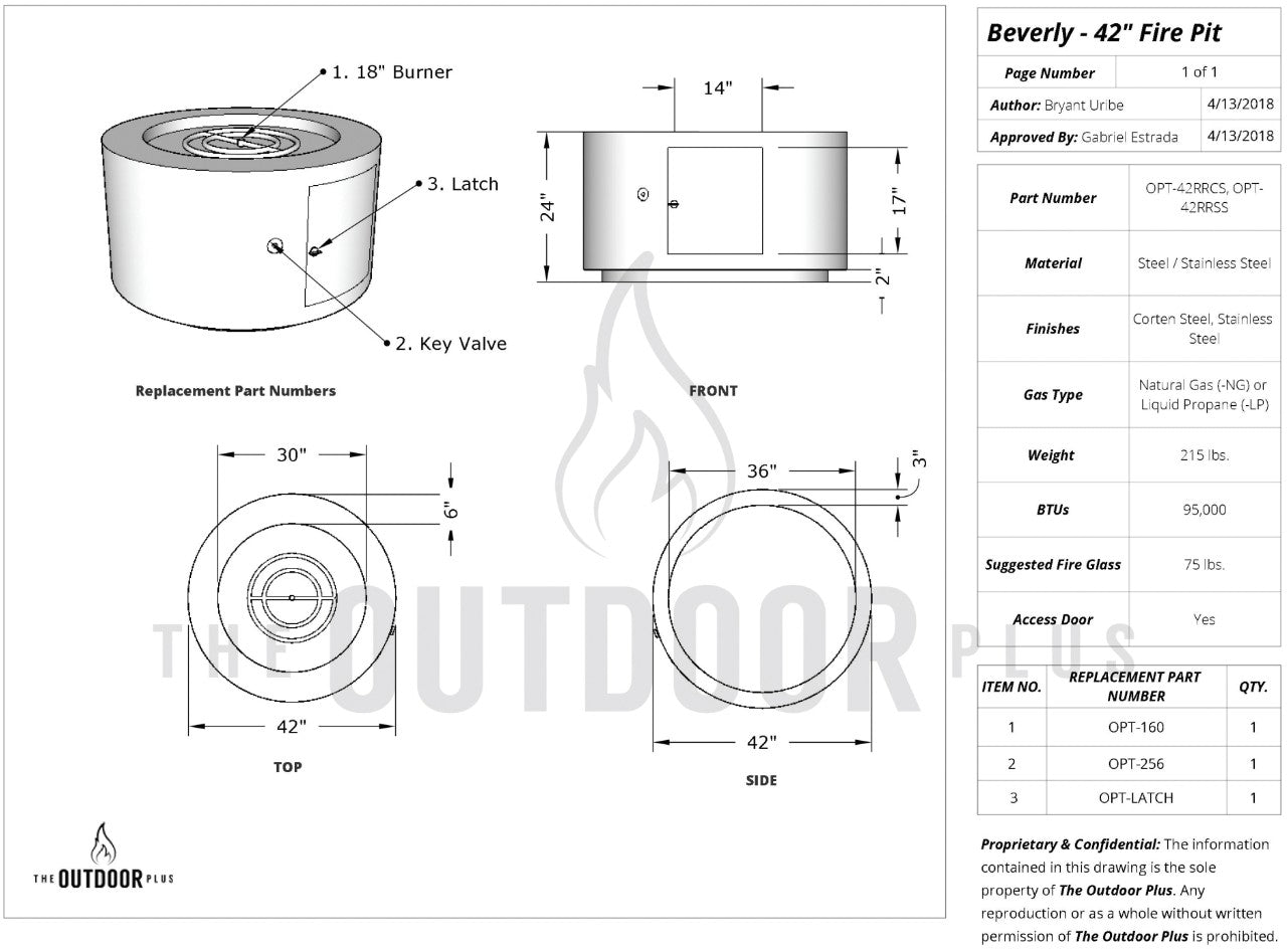 """42"""" Beverly Fire Pit Diagram"""