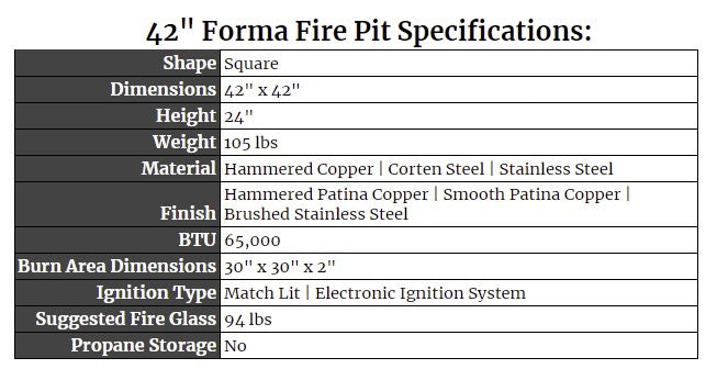 """42"""" Forma Fire Pit Specs"""