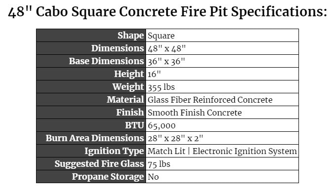 48 Cabo Square Fire Pit Specifications