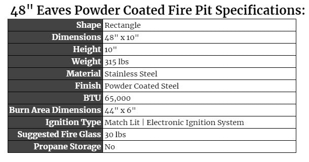 """48"""" Eaves Powder Coated Fire Pit"""
