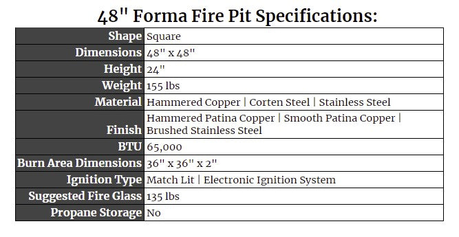 """48"""" Forma Fire Pit Specs"""