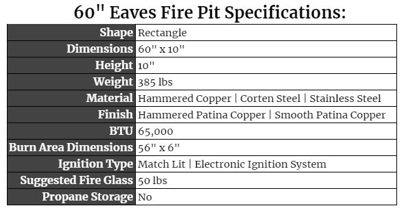 """60"""" eaves Fire Pit Specs"""