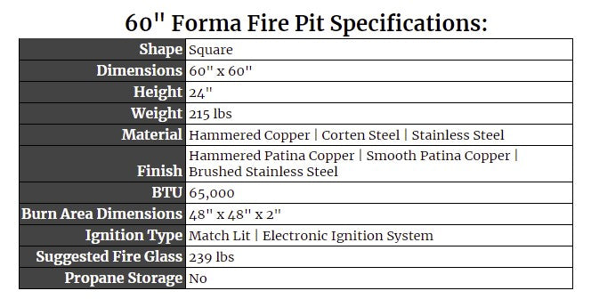 """60"""" Forma Fire Pit Specs"""