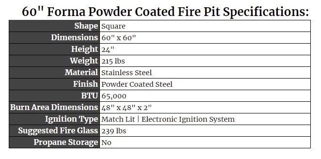 """60"""" Forma Powder Coated Fire Pit Specs"""