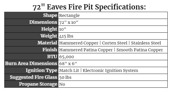 """72"""" Eaves Fire Pit Specs"""