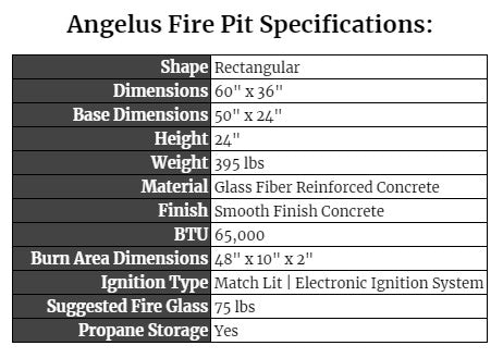Angelus Fire Pit Specifications