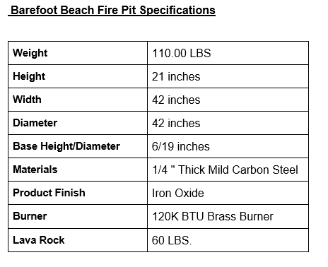 Barefoot Beach Fire Pit Specifications Table