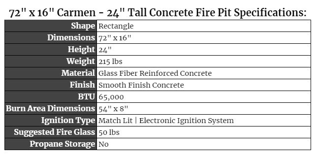 Carmen 24 Tall Concrete Fire Pit Specifications