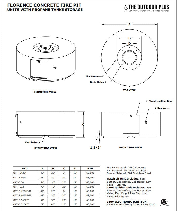 54 Florence Fire Pit Specs