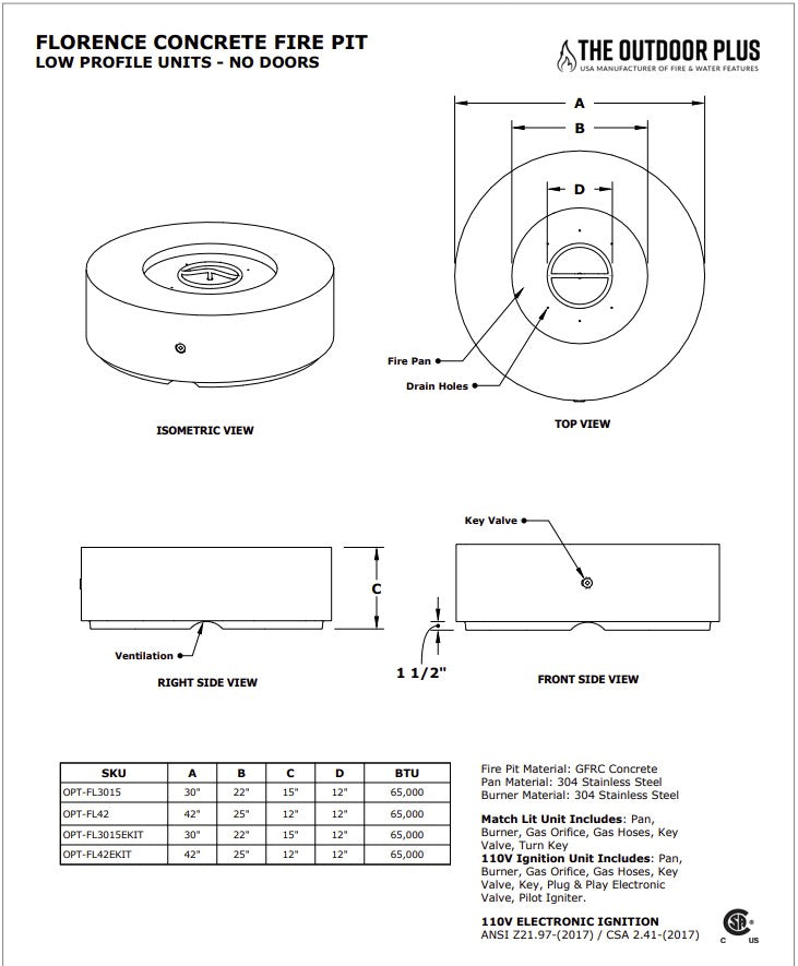 """42"""" Florence Fire Pit Specs Sheet"""