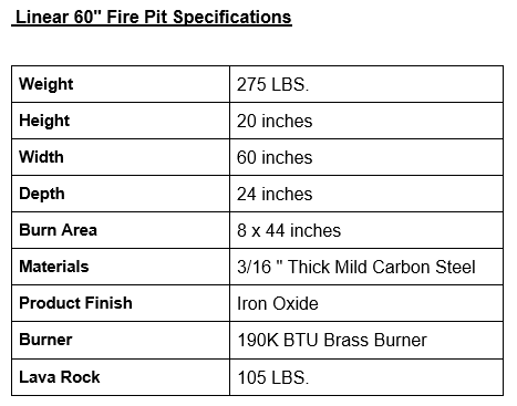 """Linear 60"""" Fire Pit Specifications"""