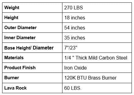 Magnum Fire Pit Specifications