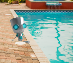 Robotic Pool Cleaner-Robot sitting by the pool