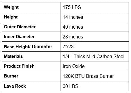 Saturn Fire Pit specifications