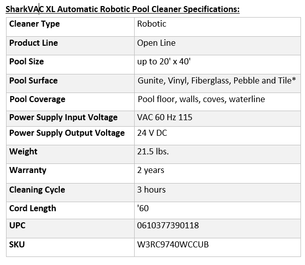 SharkVAC XL Automatic Robotic Pool Cleaner Specifications: