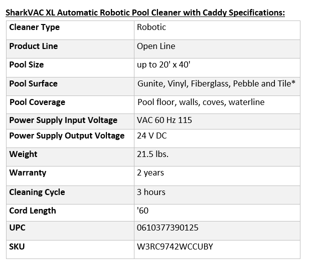 SharkVAC XL Automatic Robotic Pool Cleaner with Caddy Specifications:
