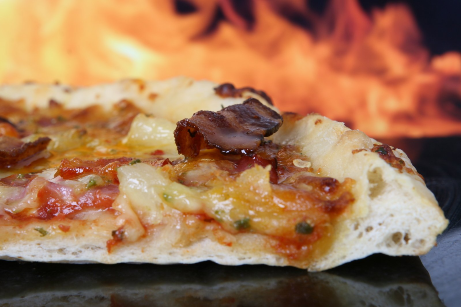 Pizza Slice with flame