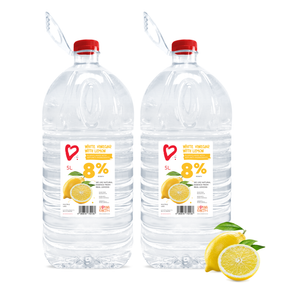 2 x 5 Litres, 8% Cleaning Vinegar | Refreshing Lemon Scent | Multipurpose Uses & Cleaning