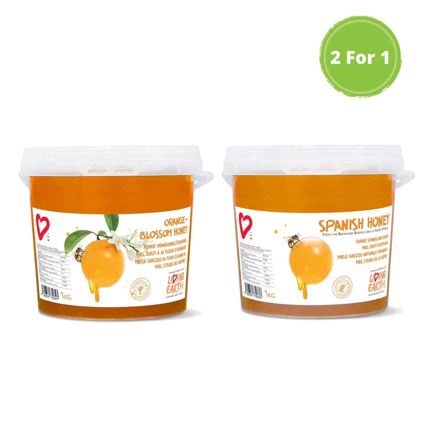 2 x 1 Offer, 2 KGs - Spanish (1Kg) & Orange Blossom Honey (1Kg)