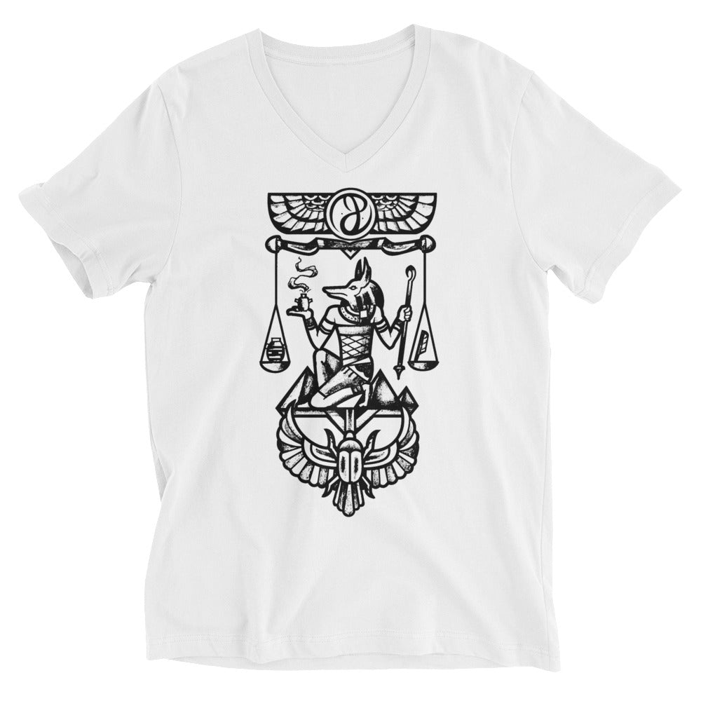 """Anubis"" V-Neck Unisex Short Sleeve T-Shirt"