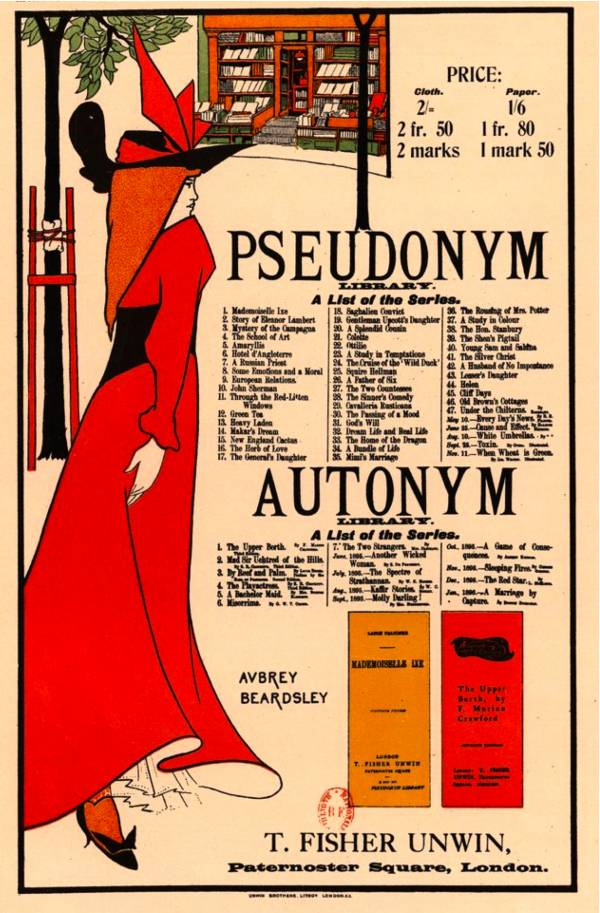 Aubrey Beardsley's cover for The Pseudonym & Autonym Libraries