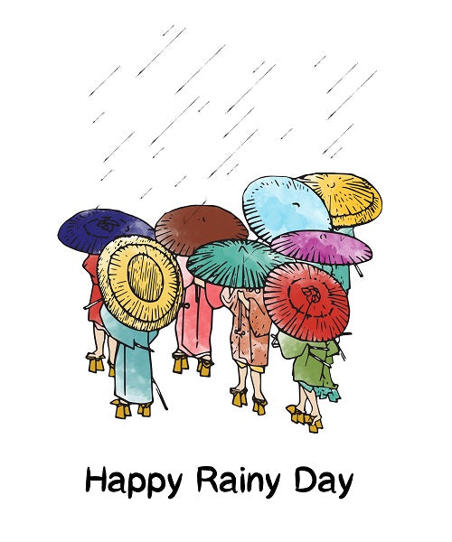 colorful rainy day design with Japanese umbrellas