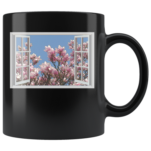 Magnolias outside the open window mug