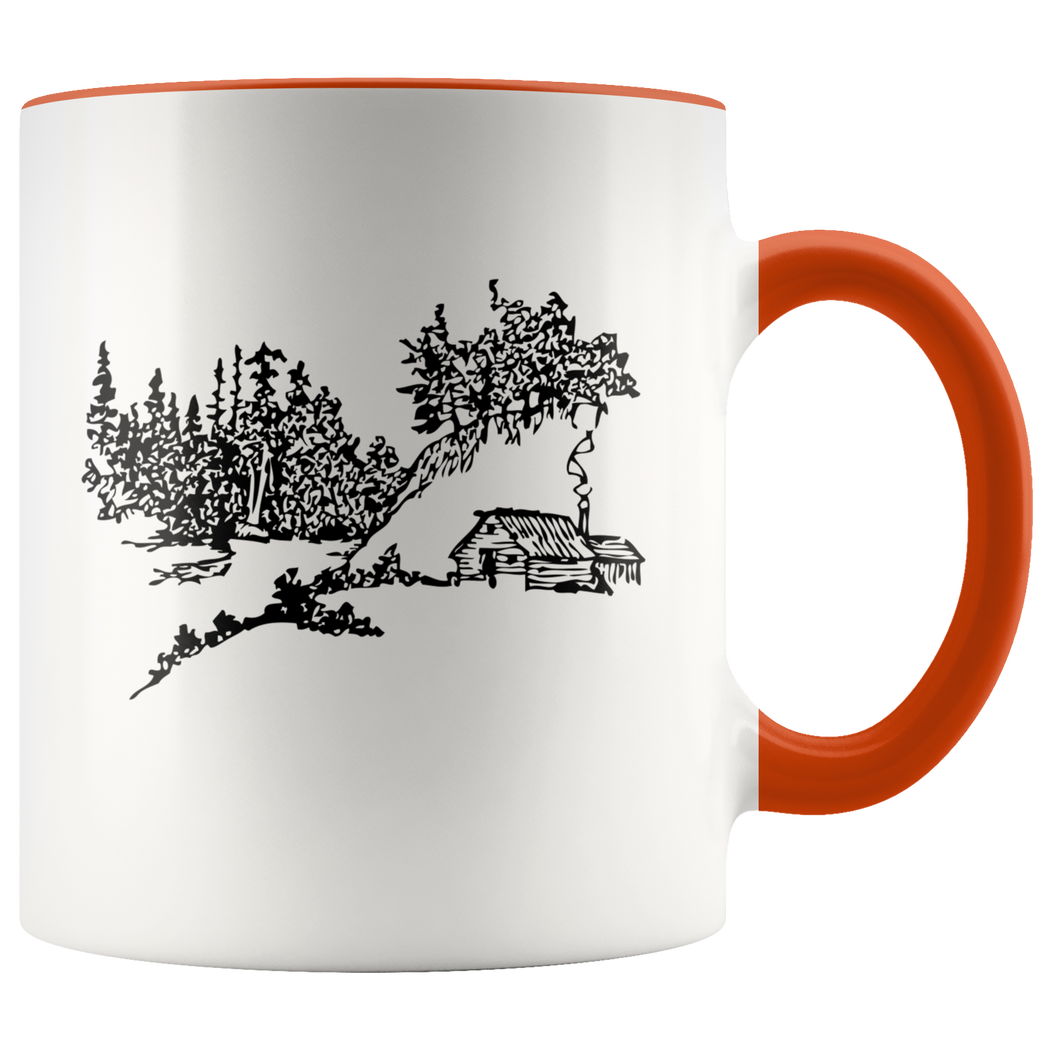 Remote cabin in the woods mug -- here's to silence and solitude