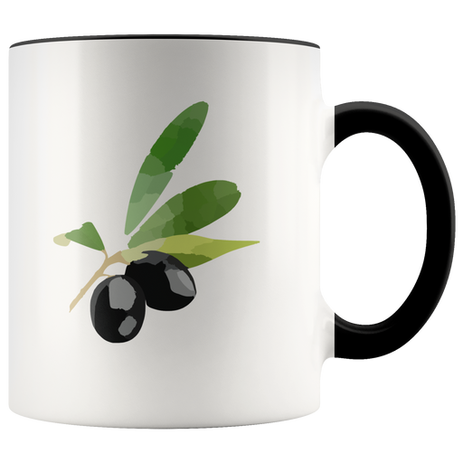 Ripe ilves with olive leaves mug -- for gourmets