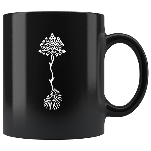 Stylized plant with blossomes and roots mug - vintage artwork c. 1900