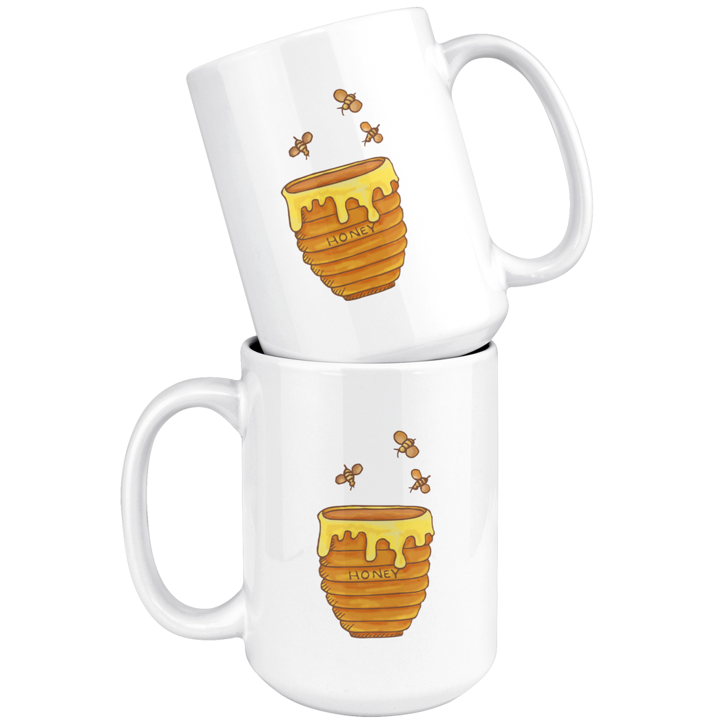 Honey pot with honey bees -- foodie mug
