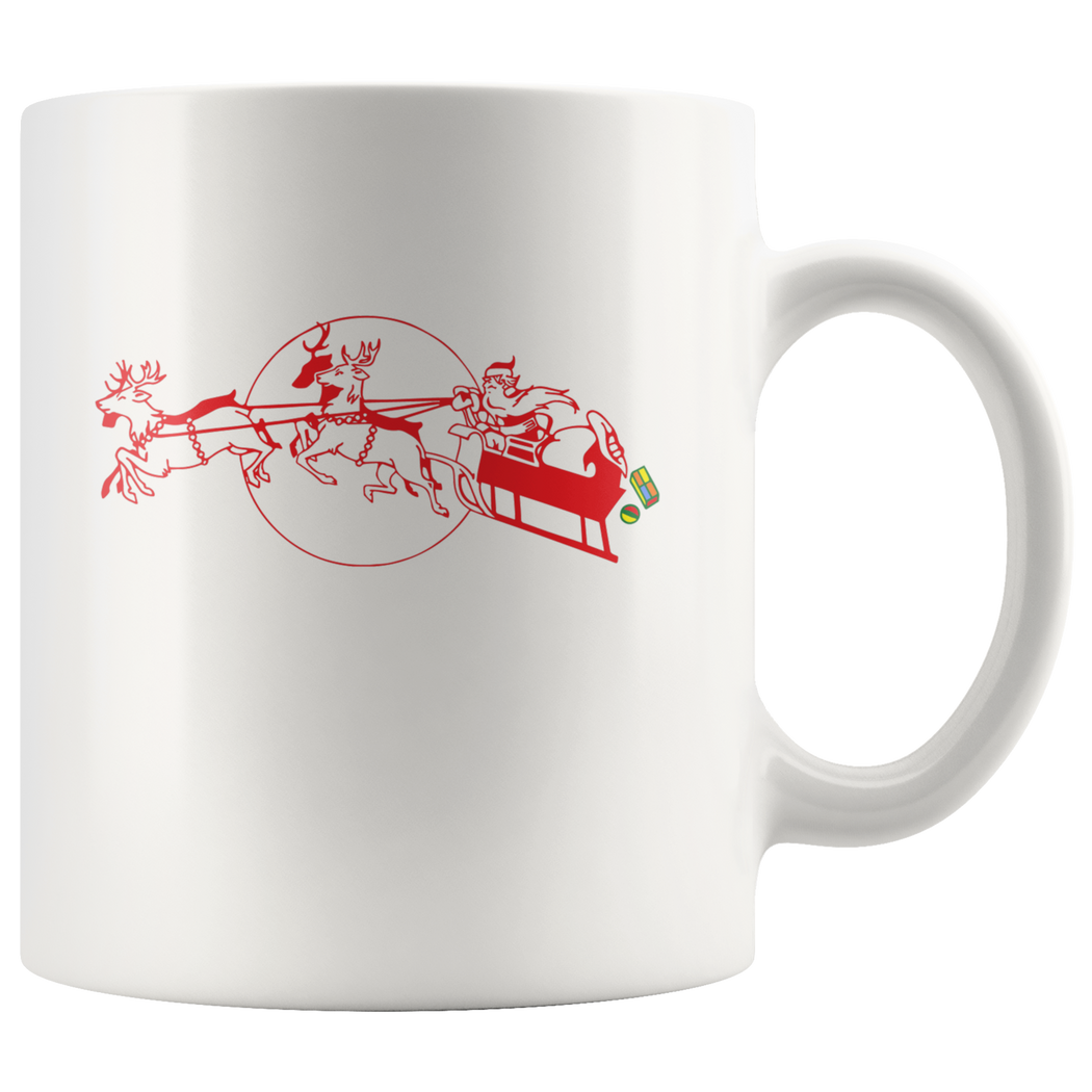 Santa delivering Christmas presents in his sleigh -- Christmas mug