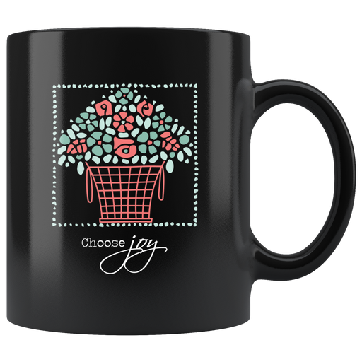 Flower basket light blue and pink mug – choose joy