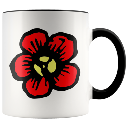 Single red flower mug