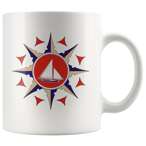 Red and blue compass rose -- nautical mug