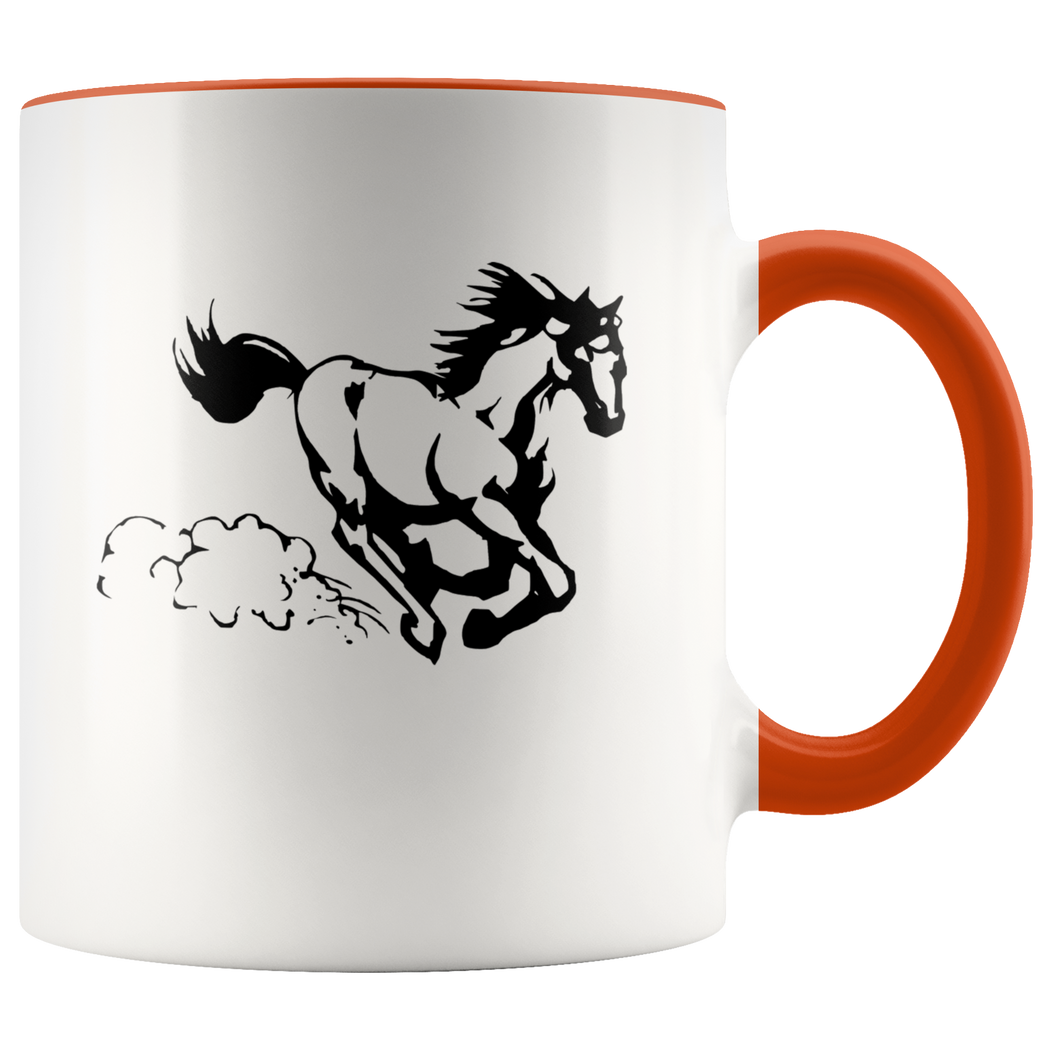 Spirited horse at a gallop coffee mug -- black on white