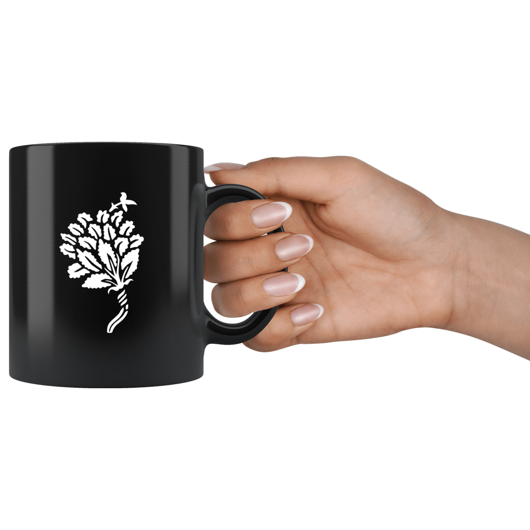 Stylized flower ornament from 1900 - white on black - coffee mug