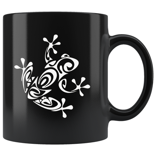 Abstract white frog on a black coffee mug