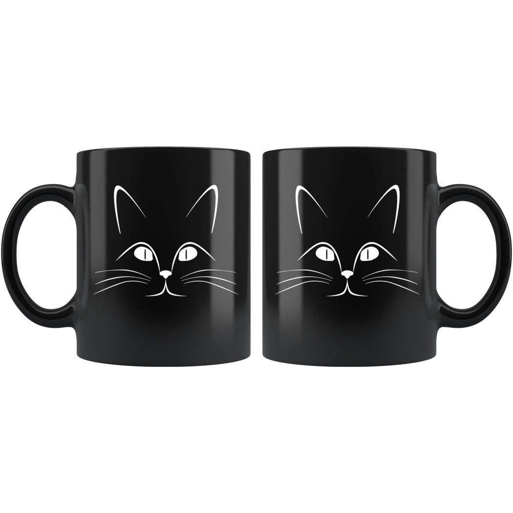 Stylized cat face mug -- for cat lovers
