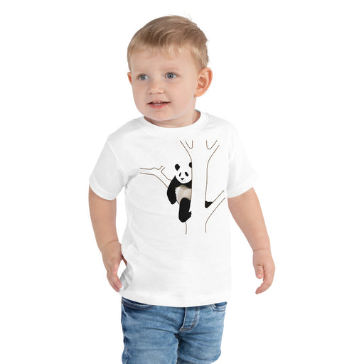 Panda bear chills out in a tree - toddler short sleeve tee