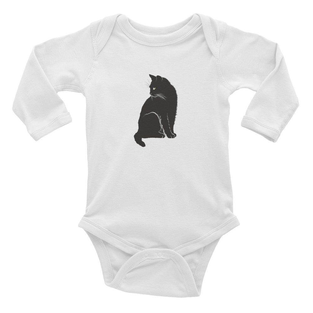 Green-eyed black cat onesie - and infant long sleeve bodysuit