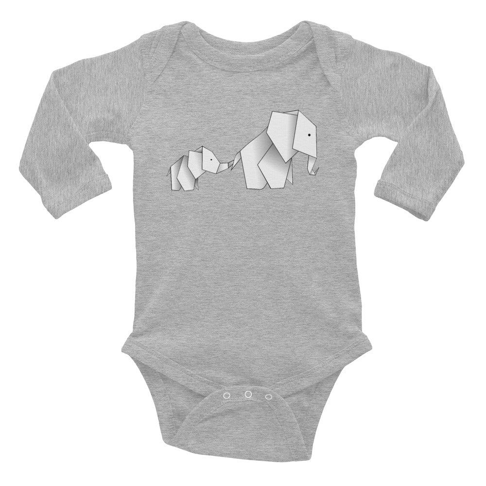 Origami elephants - mom and baby elephant -- infant long sleeve bodysuit