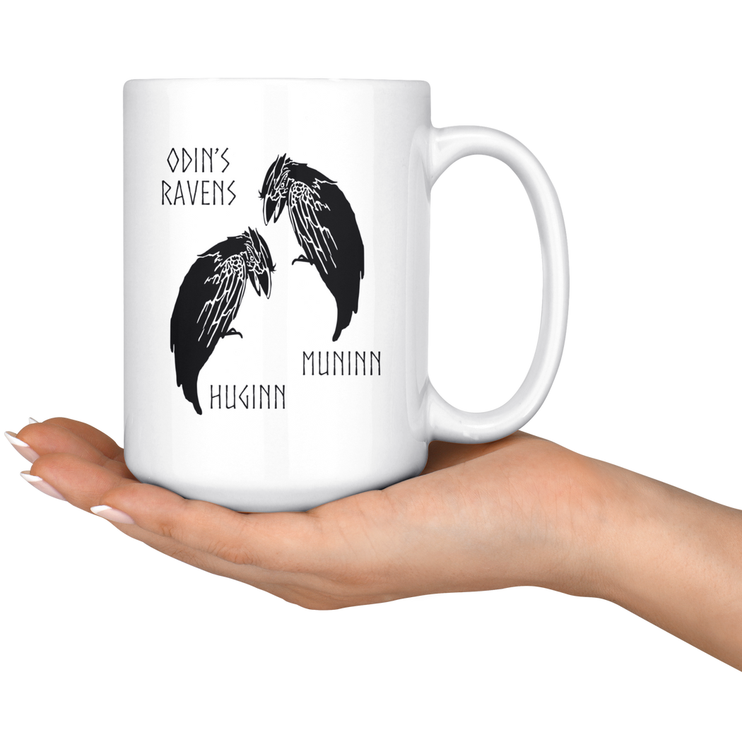 Ravens Huginn and Muninn -- Viking mug