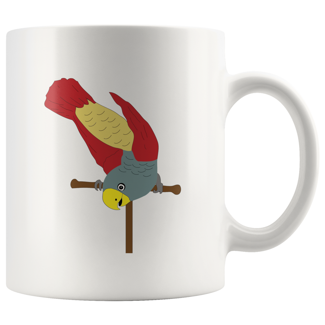 Parrot antics colorful red and yellow coffee mug