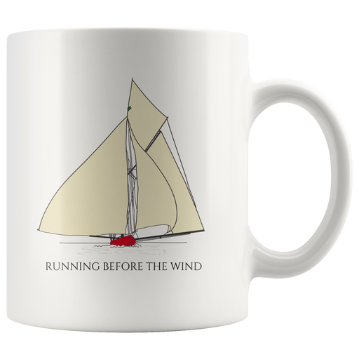Sailing vacation mug -- running before the wind