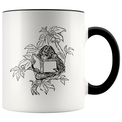 Monkey reading in a tree mug --