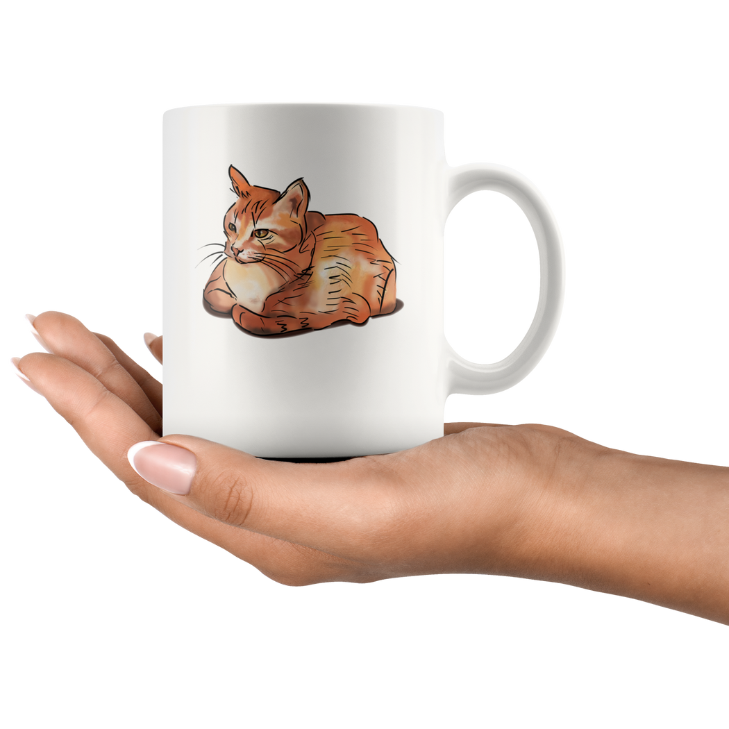 A cat with paws tucked under - a mug for cat lovers